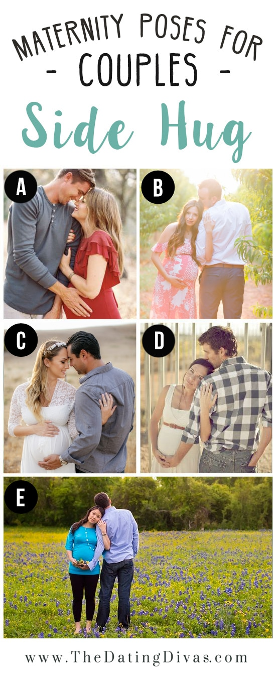 5 Couples Showing Side Hug Maternity Pose Ideas