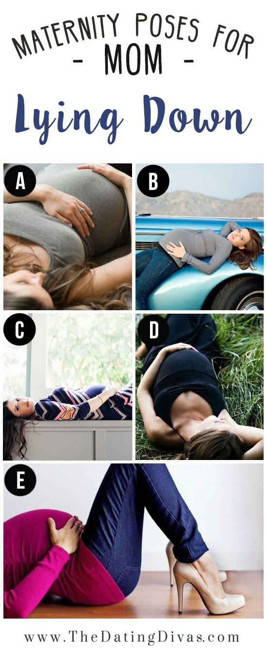 Pregnant Women Showing Maternity Poses Lying Down