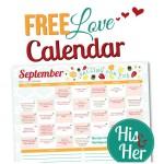 September 2015 Love Calendar