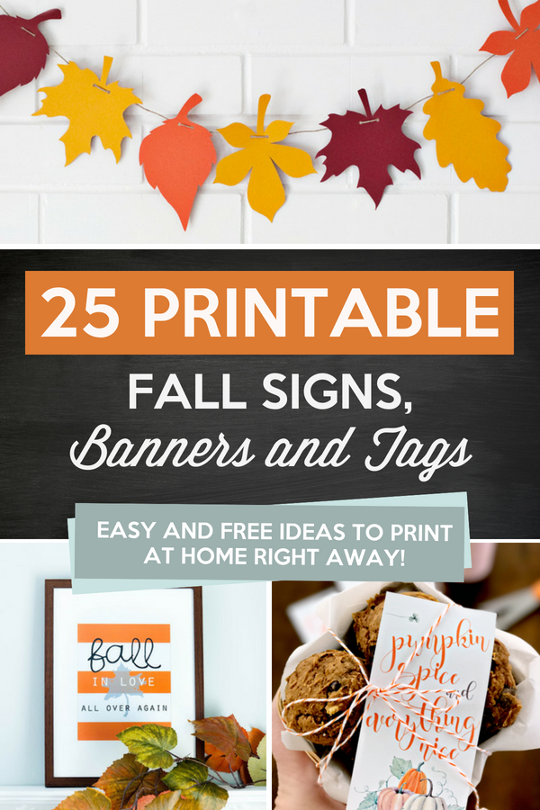 Fall signs, banners, and tags that are easy and FREE ideas to print and use at home right away!