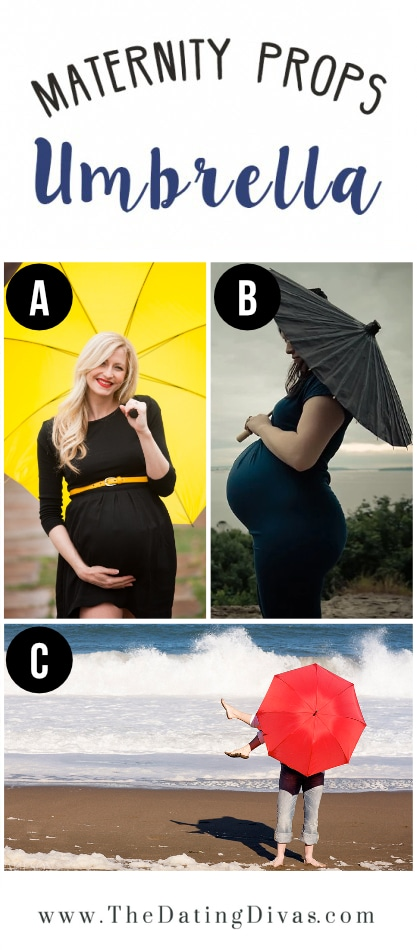 Women Taking Maternity Photos With Umbrellas