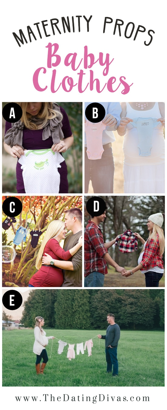 Baby Clothes as Prop for Maternity Photo Shoot