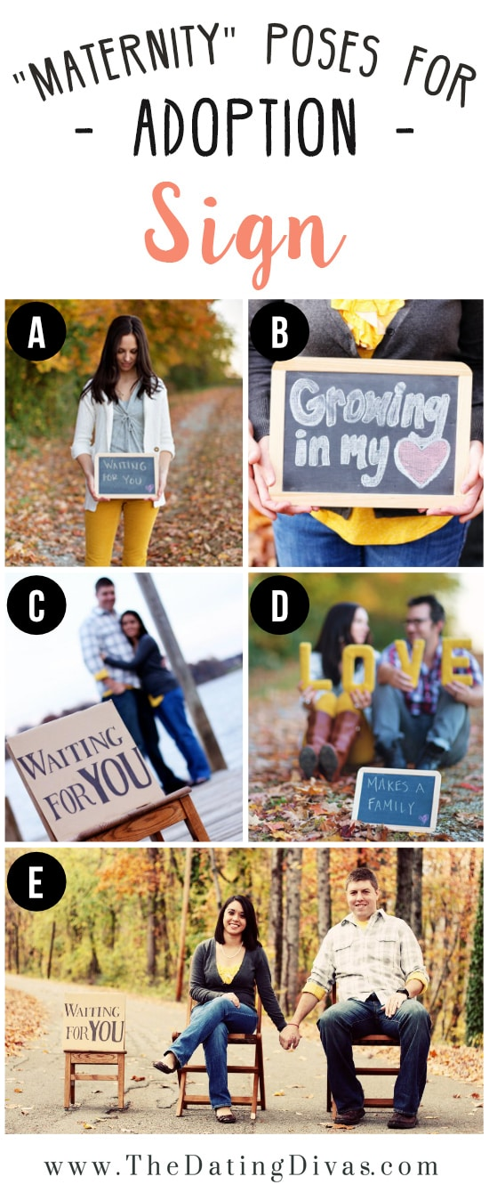 Adoption Photoshoot Ideas Using Sign for Prop