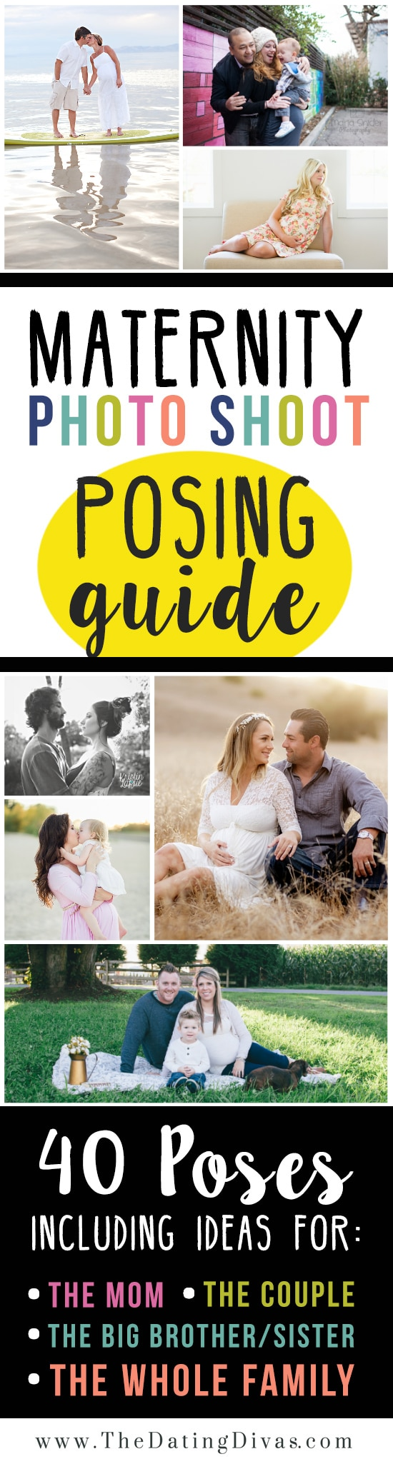 images of women and couples showing ideas for maternity photo posing