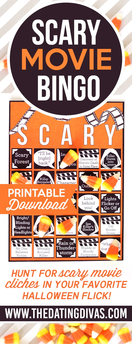 Scary Movie BINGO game - this is the best way to watch a scary movie! #MovieBingo #TheDatingDivas