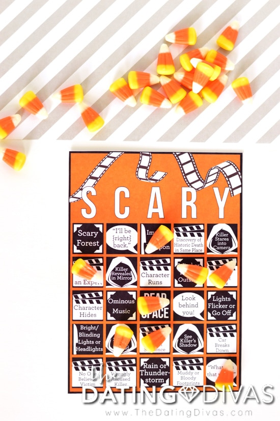 Scary Movie Bingo with Candy Corn Markers