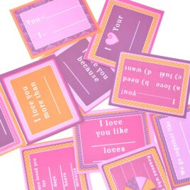 Show your love with unique fill-in-the-blank cards!