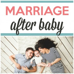 marriage after baby article banner with parents and newborn laying down