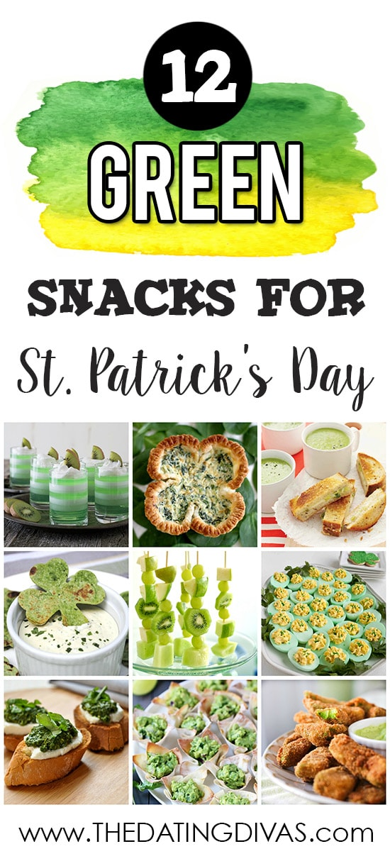 12 Green Snacks for St. Patrick's Day banner with 9 images