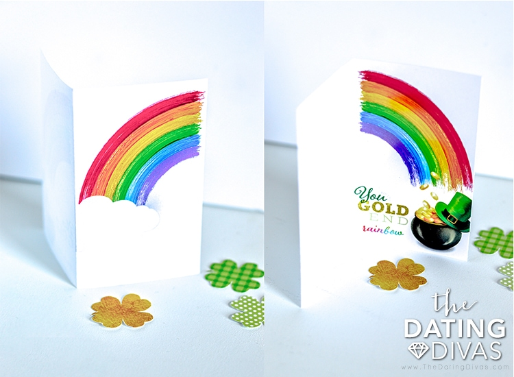 st patricks day card with a rainbow and pot of gold