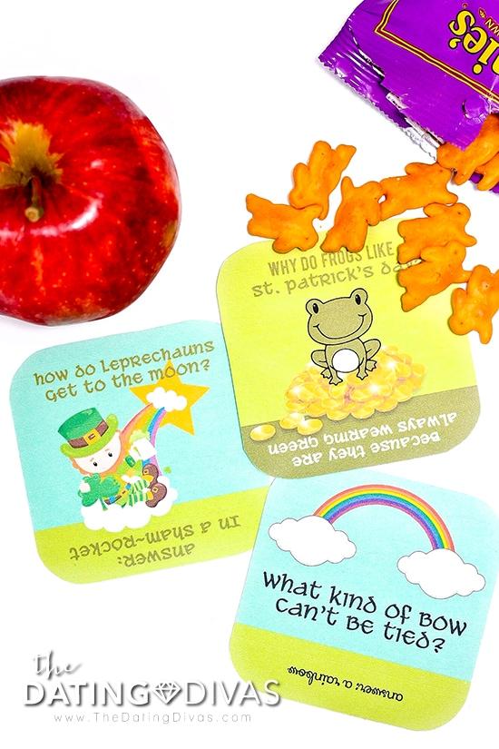 Free printable St. Patrick's Day lunch box jokes.
