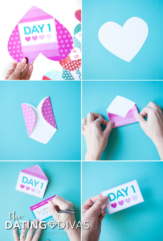 Valentine's Day Countdown with Heart Envelopes