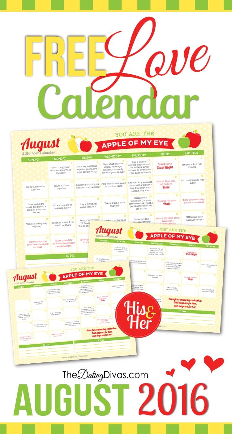 August 2016 Love Calendar