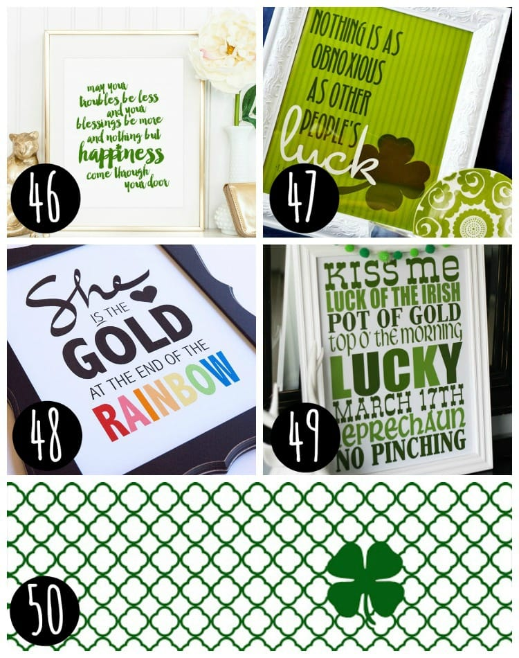 collage of Free st patrick's day printables