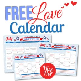 Free Printable July Love Calendar 2016