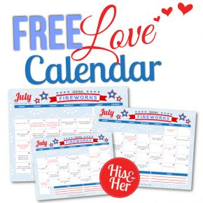 Free Printable July Love Calendar 2016