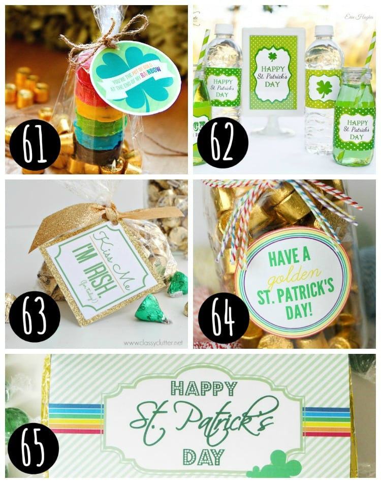 st patrick's day treat label printables