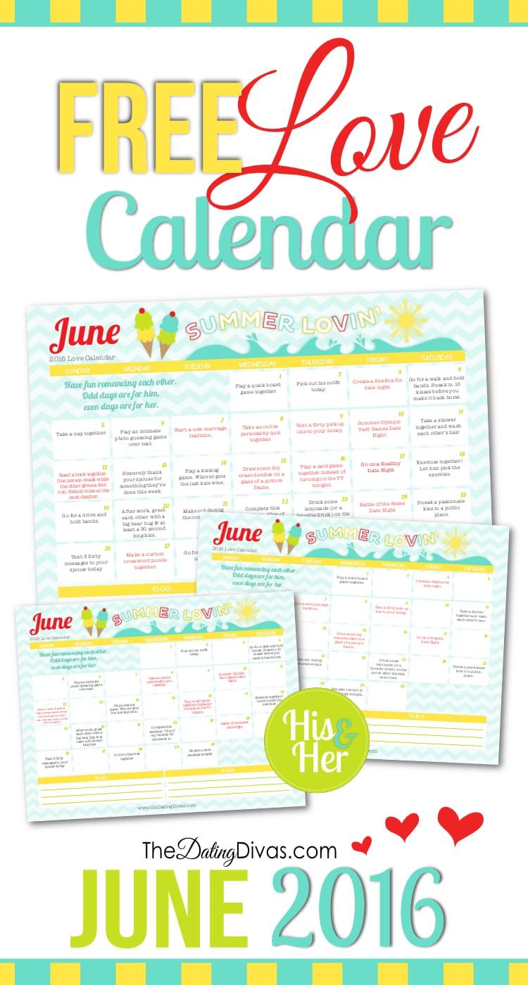 June 2016 Love Calendar