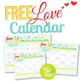 Free Printable Love Calendar June