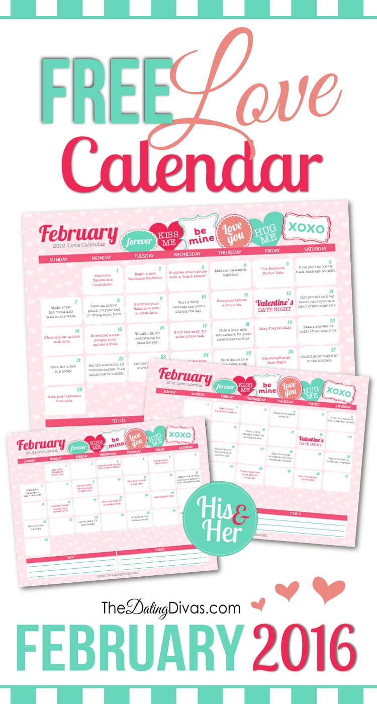 Printable February 2016 Love Calendar