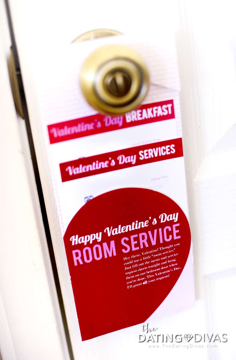 Valentine's Day Room Service Door Hanger