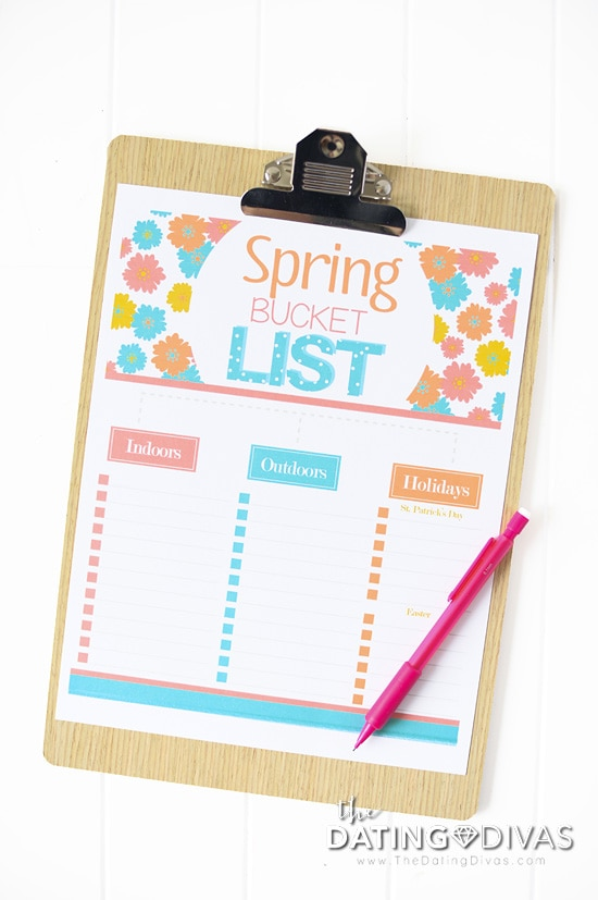 Free Printable Blank Spring Bucket List from The Dating Divas