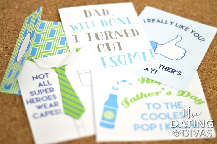 DIY free printable fathers day cards