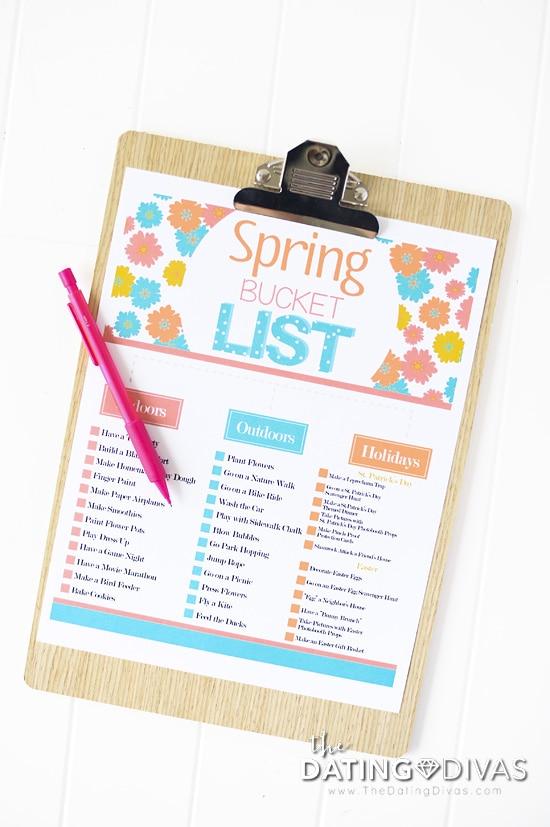 Hyperlinked Spring Bucket List from The Dating Divas
