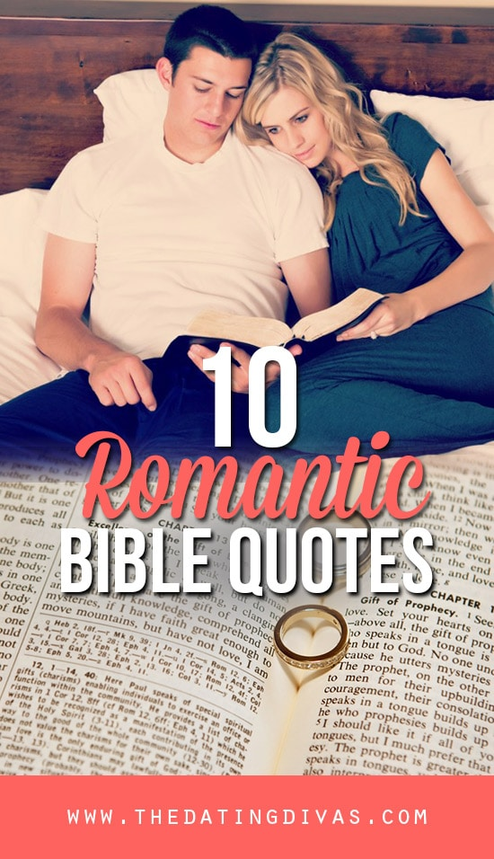 10 Romantic Quotes from the bible banner with a couple reading the bible in bed