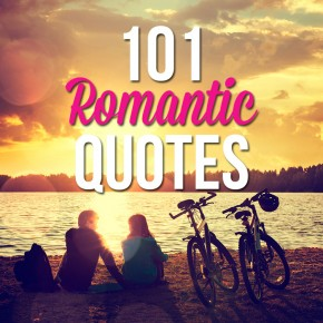 Couple sitting on beach during sunset with 101 romantic quotes titled above