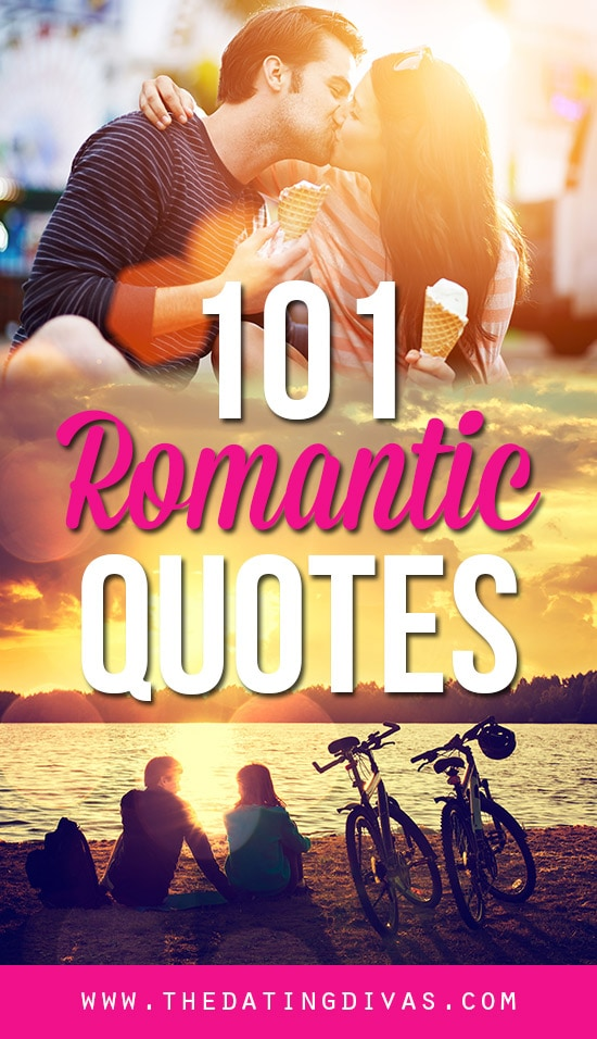 101 Romantic quotes banner with a couple kissing