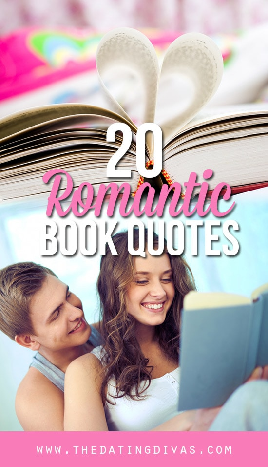 20 Romantic Quotes from books banner with couple reading a book