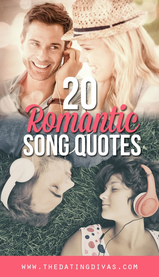 20 Romantic Quotes from songs banner with couples listening to music