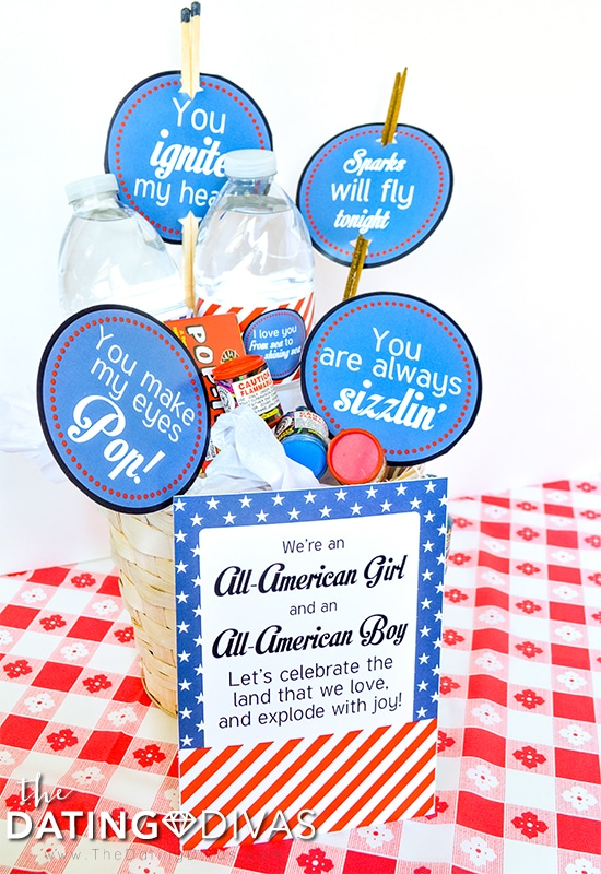 A gift basket to inspire a last minute 4th of July date night.
