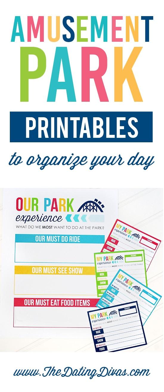 Amusement Park Organizer Printables
