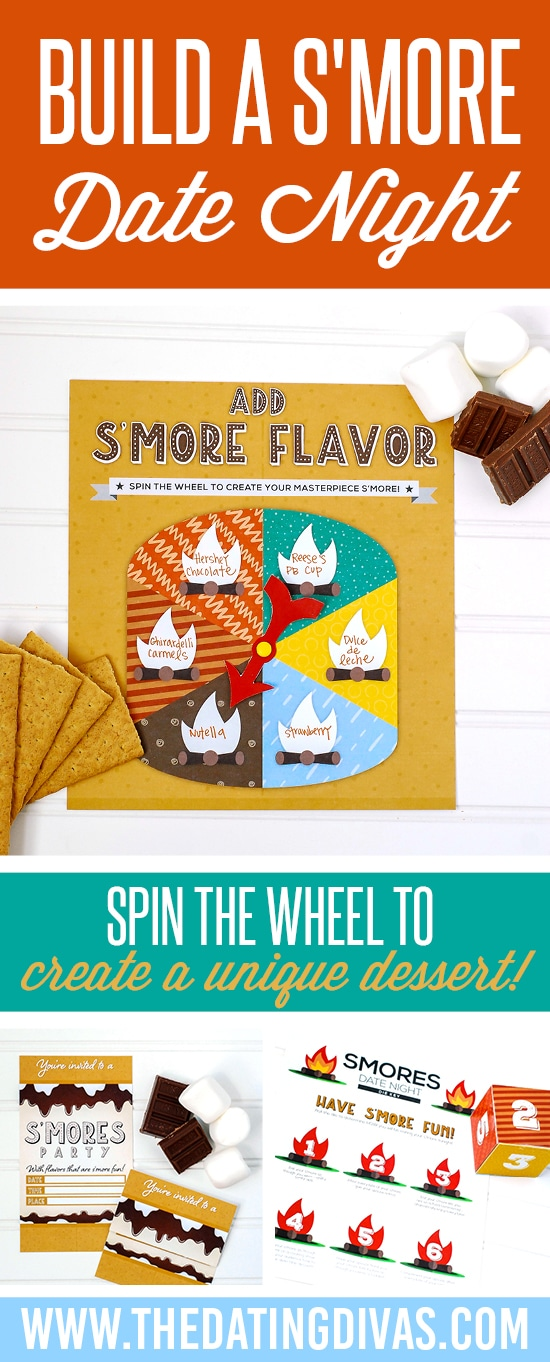 Have to try this Smores Bar Date Night! It's perfect for a super fun group date night OR can be adapted for just two people. And the printables are FREE! #TheDatingDivas #SmoresBar #GroupDateIdeas