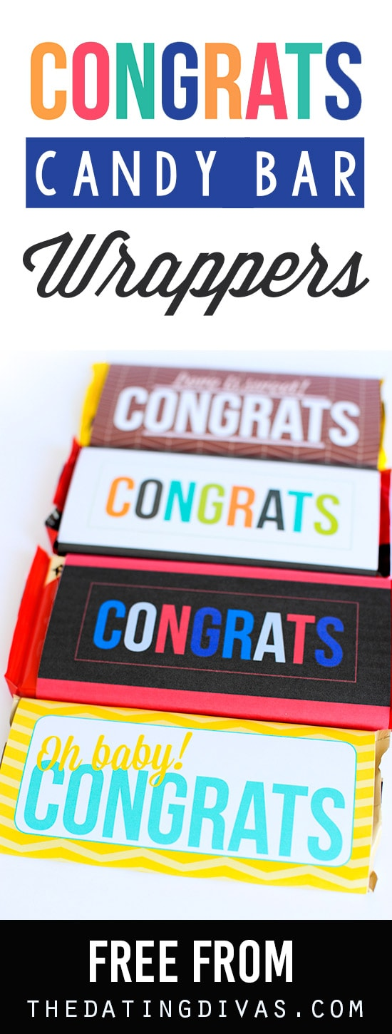 "These free printable ""Congrats!"" candy wrappers make it so easy! Perfect for any celebrations. #candywrappers #diycandywrappers #personalizedcandywrappers"