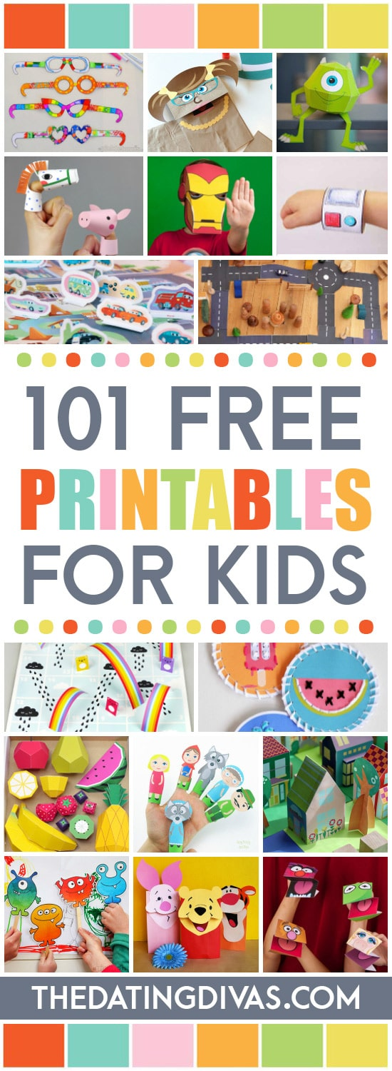 Keep your kiddos entertained with this list of over 100 FREE printables for kids! #printablesforkids #freeprintables #printableactivitesforkids #thedatingdivas