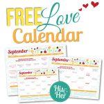 2016 September Love Calendar