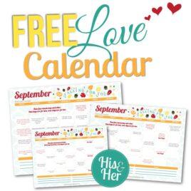 September 2016 Love Calendar