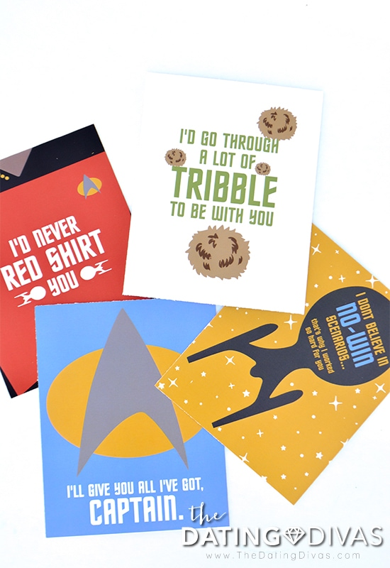 4 Star Trek themed love notes.
