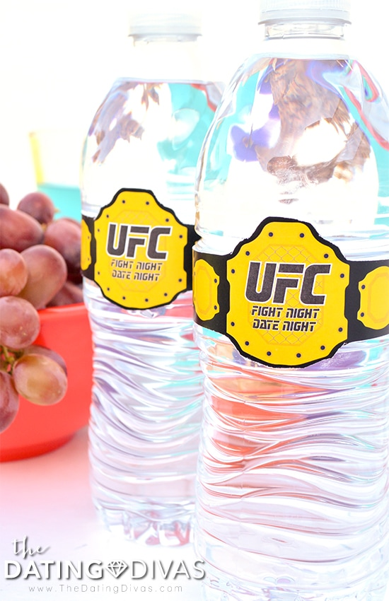 The real champions are these cute UFC Fight Night Date Night water bottle labels.