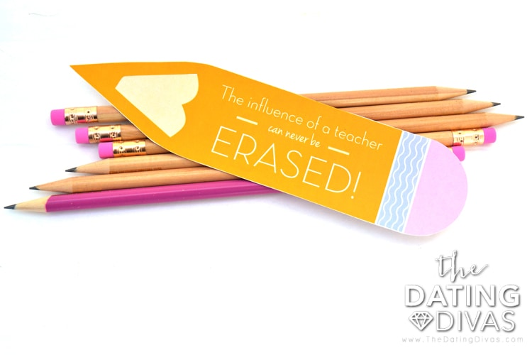 Cute pencil gift tag for a teacher.