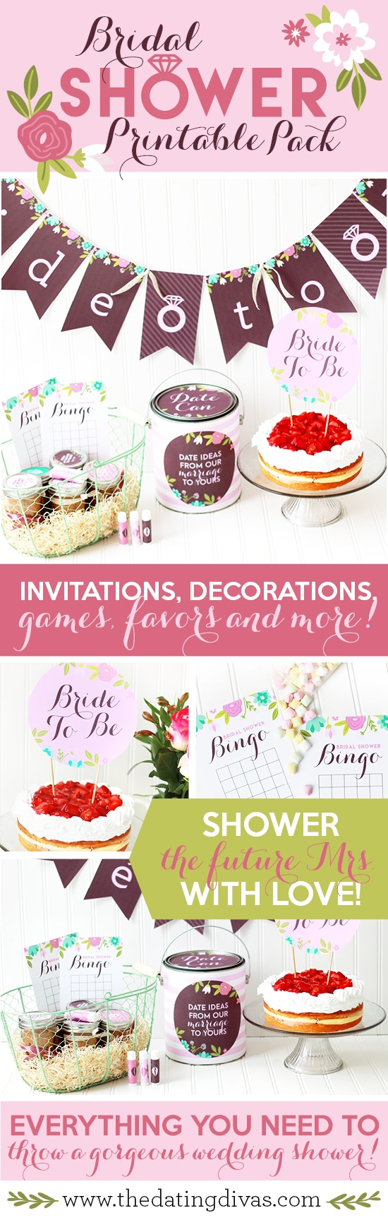 Bridal shower party park full of gorgeous printables and bridal shower game ideas! #TheDatingDivas #BridalShowerPrintables