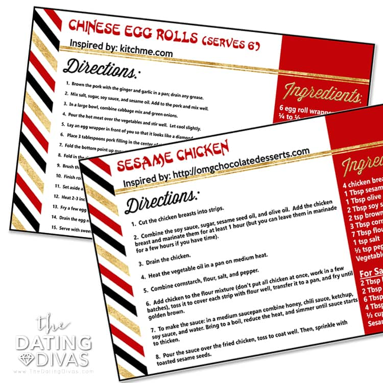 Chinese Food Recipe Cards