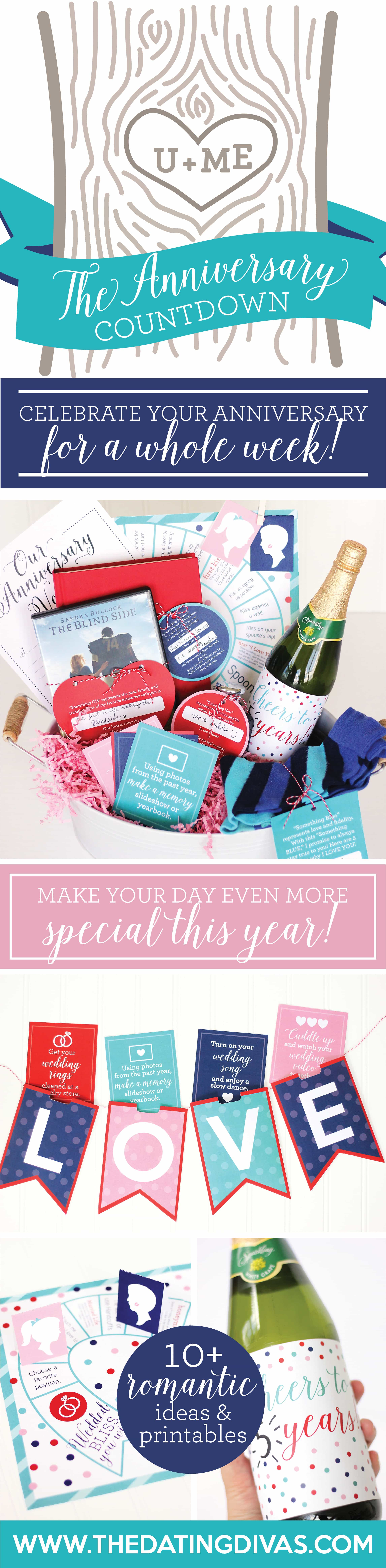 Countdown anniversary idea to celebrate your anniversary all week long! #TheDatingDivas #AnniversaryIdea