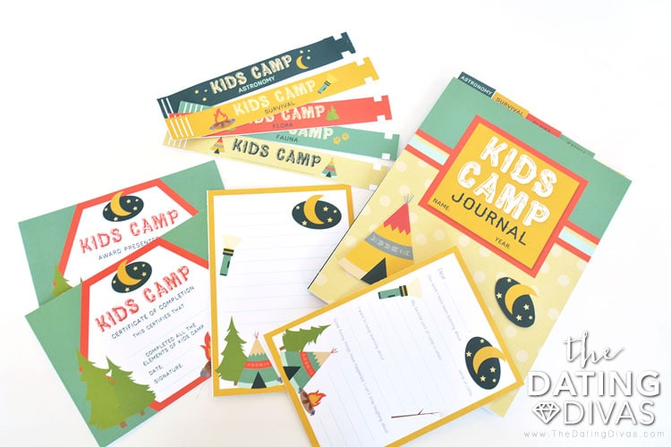 Free printables for an at home Kids Camp