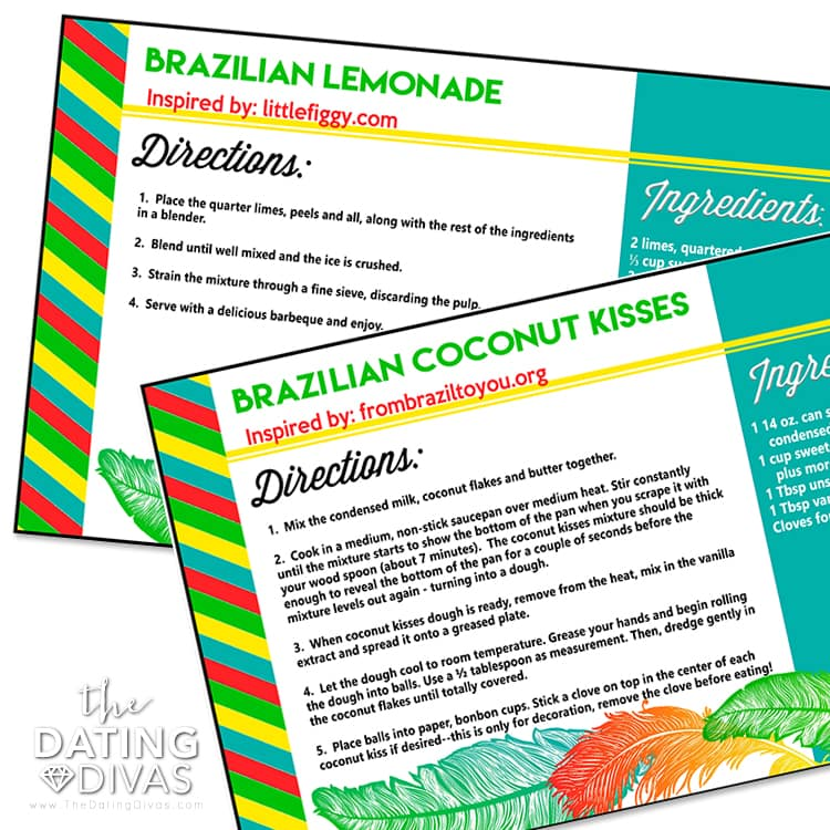 Brazil Date Night Recipe Cards