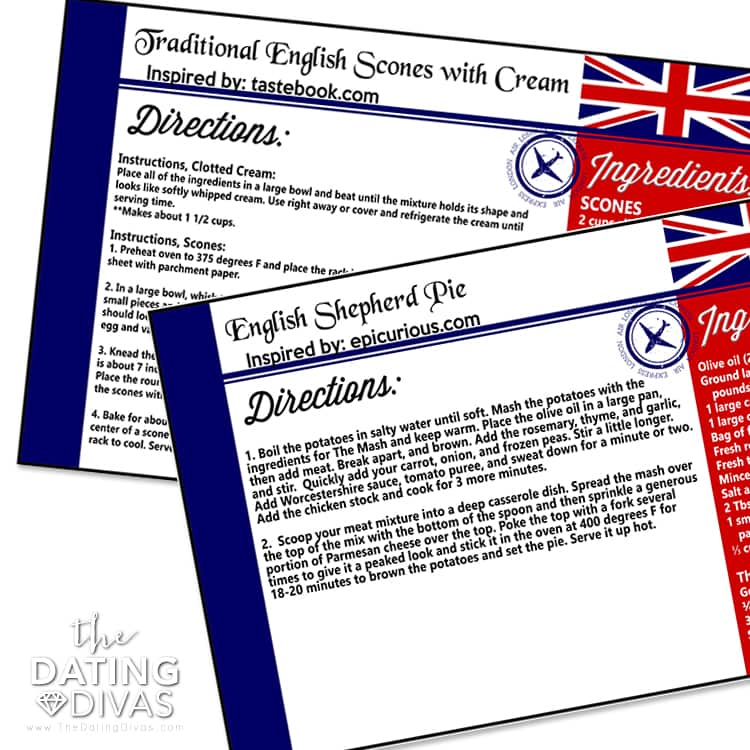 England Themed Date Recipe Cards