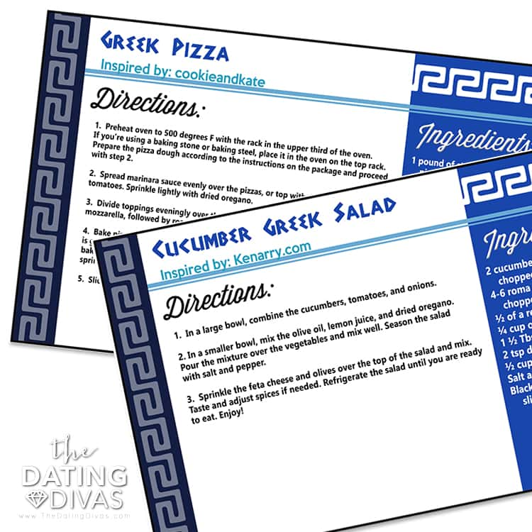 Greek Food Recipe Cards